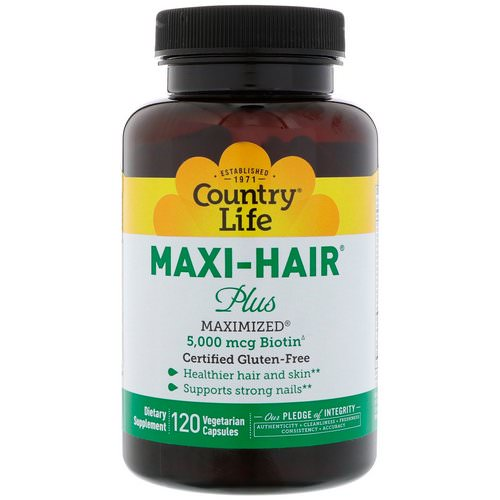 Country Life, Maxi Hair Plus, 5,000 mg, 120 Vegetarian Capsules Review