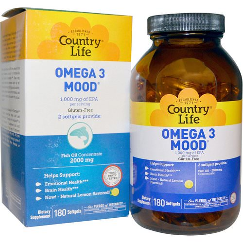 Country Life, Omega 3 Mood, Natural Lemon Flavored, 180 Softgels Review