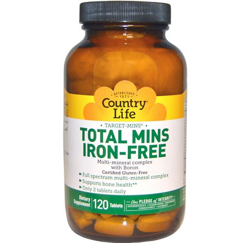 Country Life, Total Mins Iron-Free, Multi-Mineral Complex with Boron, 120 Tablets Review