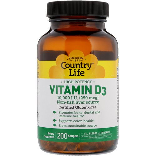 Country Life, Vitamin D3, High Potency, 10,000 I.U, 200 Softgels Review