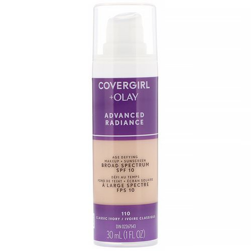 Covergirl, Olay Advanced Radiance, Age-Defying Makeup, SPF 10, 110 Classic Ivory, 1 fl oz (30 ml) Review