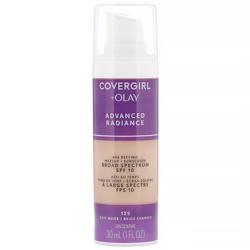 Covergirl, Olay Advanced Radiance, Age-Defying Makeup, SPF 10, 125 Buff Beige, 1 fl oz (30 ml) Review