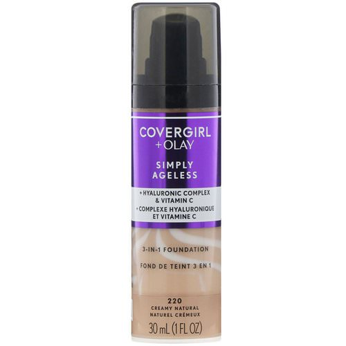 Covergirl, Olay Simply Ageless, 3-in-1 Foundation, 220 Creamy Natural, 1 fl oz (30 ml) Review