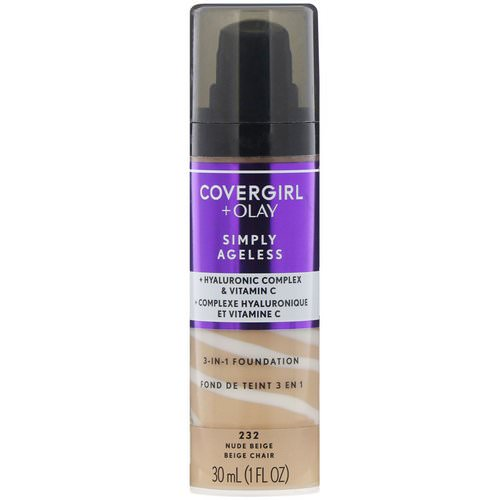 Covergirl, Olay Simply Ageless, 3-in-1 Foundation, 232 Nude Beige, 1 fl oz (30 ml) Review