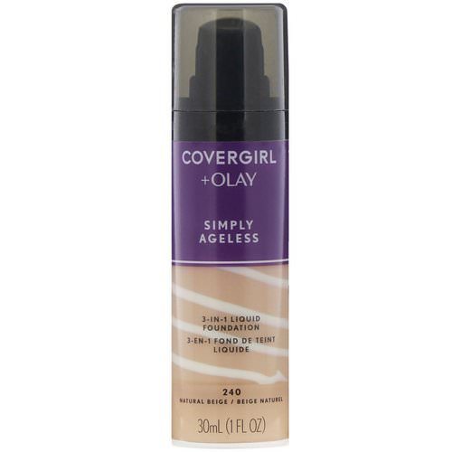 Covergirl, Olay Simply Ageless, 3-in-1 Foundation, 240 Natural Beige, 1 fl oz (30 ml) Review
