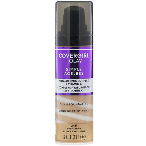 Covergirl, Olay Simply Ageless, 3-in-1 Foundation, 245 Warm Beige, 1 fl oz (30 ml) Review