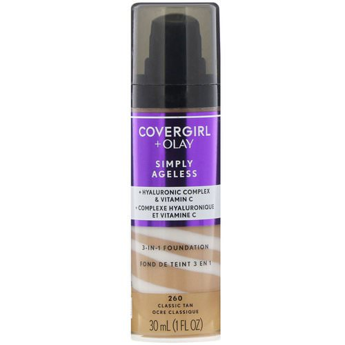 Covergirl, Olay Simply Ageless, 3-in-1 Foundation, 260 Classic Tan, 1 fl oz (30 ml) Review