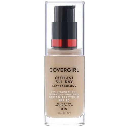 Covergirl, Outlast All-Day Stay Fabulous, 3-in-1 Foundation, 810 Classic Ivory, 1 fl oz (30 ml) Review