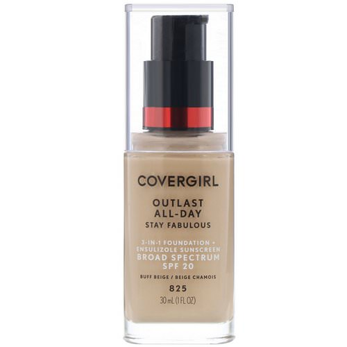 Covergirl, Outlast All-Day Stay Fabulous, 3-in-1 Foundation, 825 Buff Beige, 1 fl oz (30 ml) Review