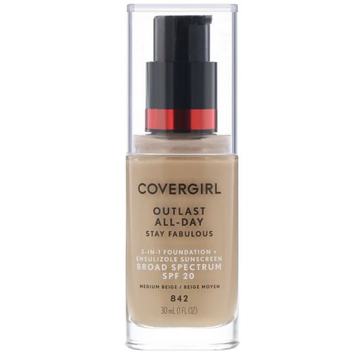Covergirl, Outlast All-Day Stay Fabulous, 3-in-1 Foundation, 842 Medium Beige, 1 fl oz (30 ml) Review