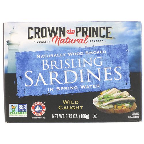 Crown Prince Natural, Brisling Sardines, In Spring Water, 3.75 oz (106 g) Review