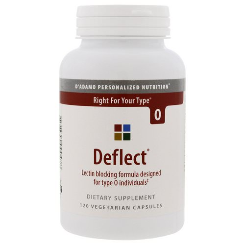 D'adamo, Deflect, Lectin Blocking Formula, The Blood Type Diet 0, 120 Veggie Caps Review
