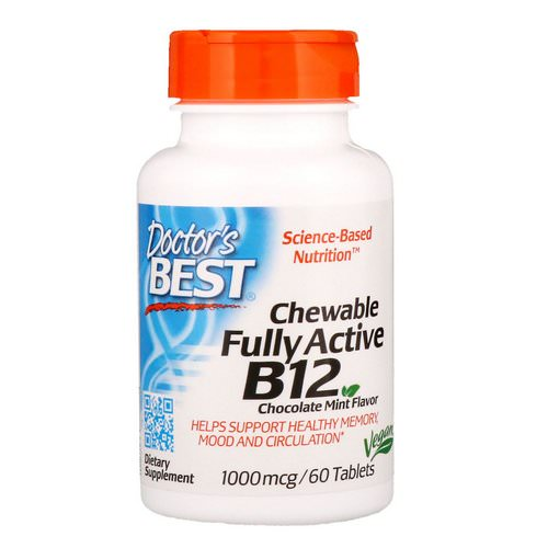 Doctor's Best, Chewable Fully Active B12, Chocolate Mint, 1,000 mcg, 60 Tablets Review