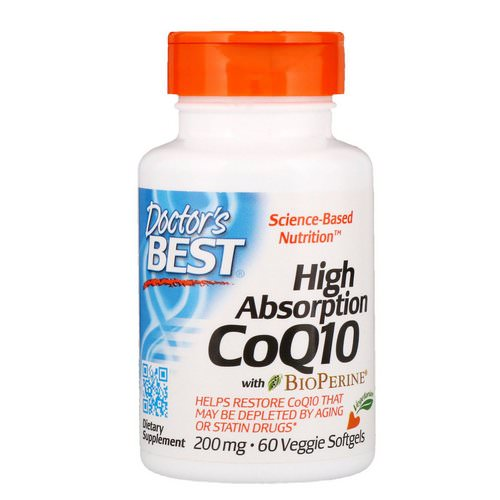 Doctor's Best, High Absorption CoQ10 with BioPerine, 200 mg, 60 Veggie Softgels Review