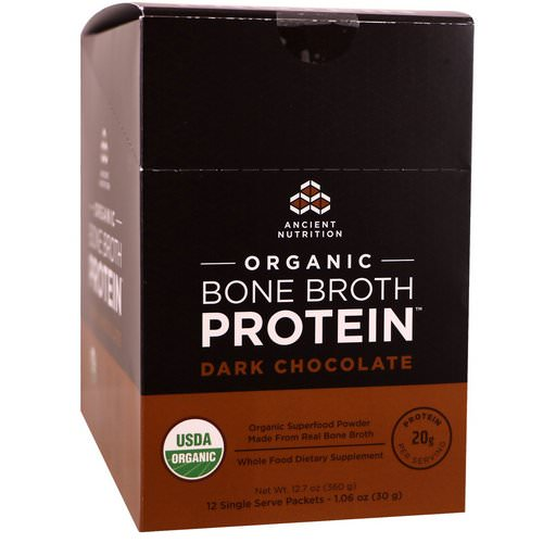 Dr. Axe / Ancient Nutrition, Organic Bone Broth Protein, Dark Chocolate, 12 Single Serve Packets, 1.06 oz (30 g) Each Review
