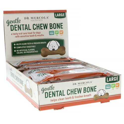 Dr. Mercola, Gentle Dental Chew Bone, Large, For Dogs, 12 Bones, 1.97 oz (56 g) Each Review