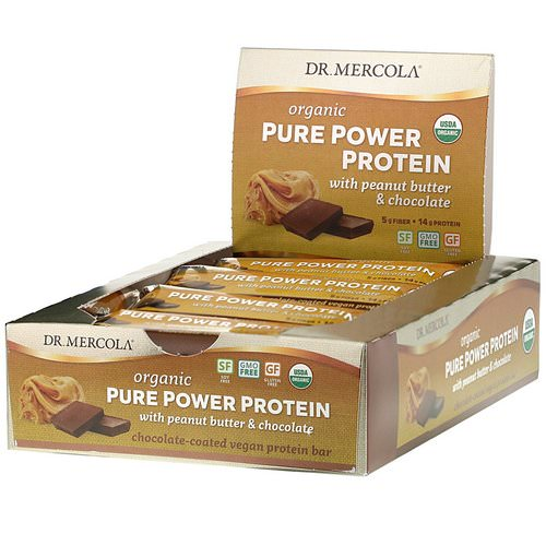 Dr. Mercola, Organic Pure Power Protein, Peanut Butter & Chocolate, 12 Bars, 1.83 oz (52 g) Each Review