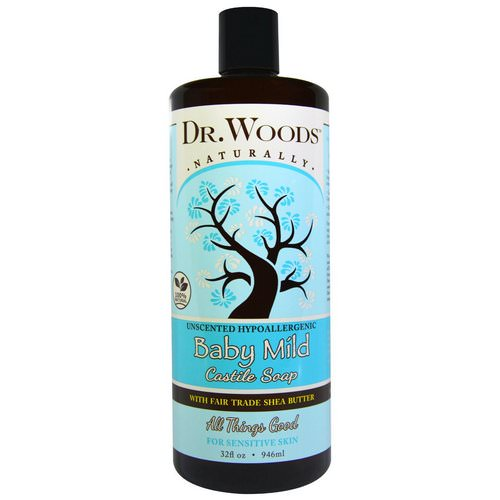Dr. Woods, Baby Mild, Castile Soap with Fair Trade Shea Butter, Unscented, 32 fl oz (946 ml) Review