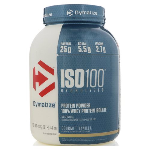 Dymatize Nutrition, ISO100 Hydrolyzed, 100% Whey Protein Isolate, Gourmet Vanilla, 3 lb (1.4 kg) Review