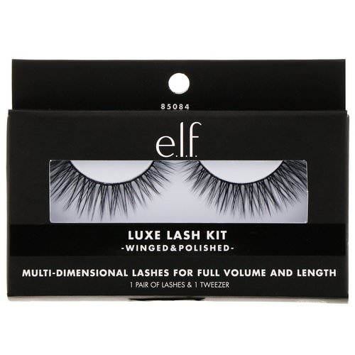 E.L.F, Luxe Lash Kit, Winged & Polished, 1 Pair of Lashes & 1 Tweezer Review