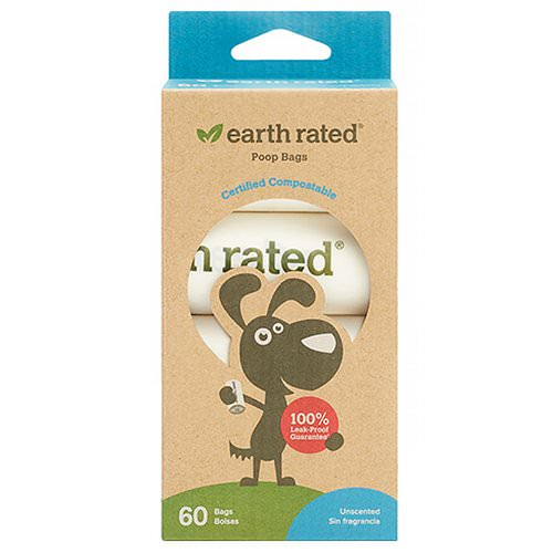 Earth Rated, Compostable Dog Bags, Unscented, 60 Bags, 4 Refill Rolls Review