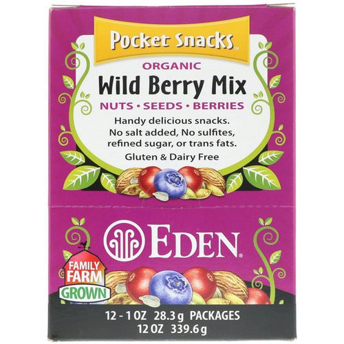 Eden Foods, Pocket Snacks, Organic Wild Berry Mix, 12 Packages, 1 oz (28.3 g) Each Review