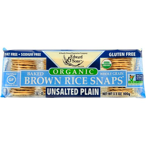 Edward & Sons, Organic, Baked Whole Grain Brown Rice Snaps, Unsalted Plain, 3.5 oz (100 g) Review