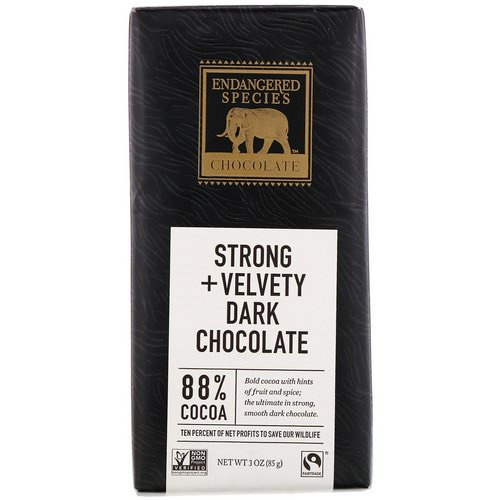 Endangered Species Chocolate, Strong + Velvety Dark Chocolate, 3 oz (85 g) Review