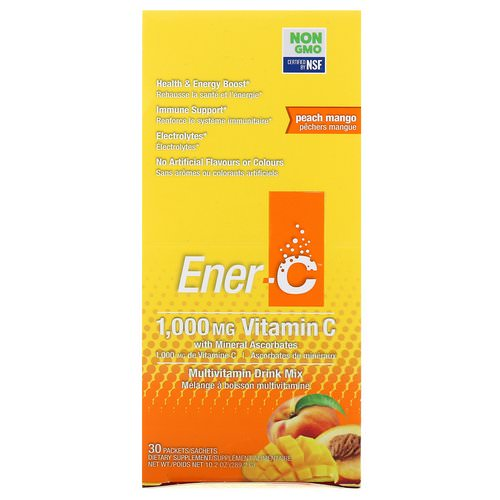 Ener-C, Vitamin C, Multivitamin Drink Mix, Peach Mango, 30 Packets, 10.2 oz (289.2 g) Review