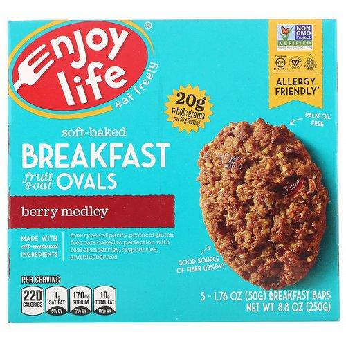 Enjoy Life Foods, Soft-Baked Breakfast Fruit & Oat Ovals, Berry Medley, 5 Bars, 1.76 oz (50 g) Each Review