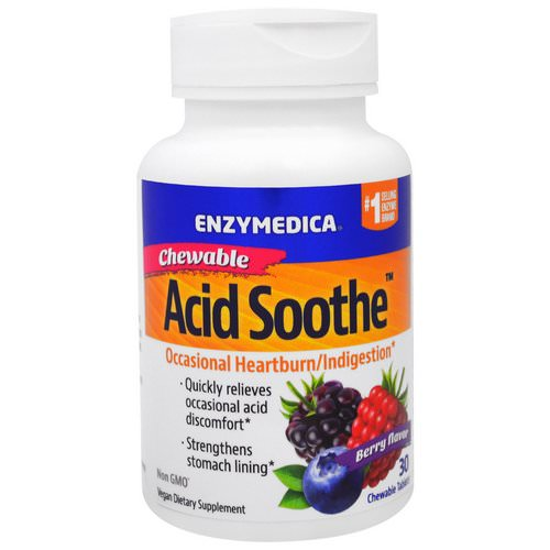 Enzymedica, Chewable Acid Soothe, Berry Flavor, 30 Chewable Tablets Review