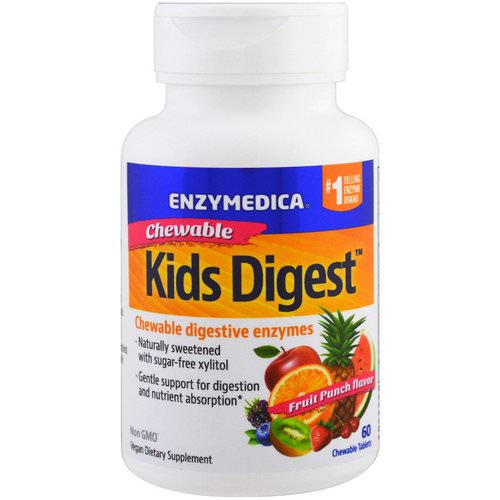 Enzymedica, Kids Digest, Chewable Digestive Enzymes, Fruit Punch, 60 Chewable Tablets Review