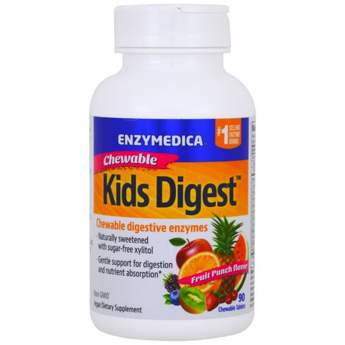 Enzymedica, Kids Digest, Chewable Digestive Enzymes, Fruit Punch, 90 Chewable Tablets Review