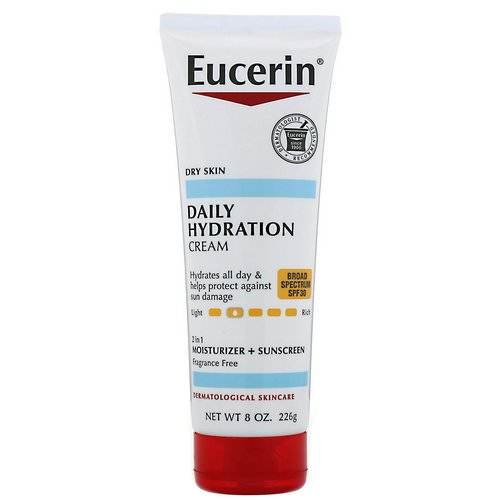 Eucerin, Daily Hydration Cream, 2 in 1 Moisturizer + Sunscreen, SPF 30, Fragrance Free, 8 oz (226 g) Review