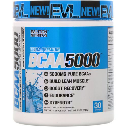 EVLution Nutrition, BCAA 5000, Blue Raz, 8.5 oz (240 g) Review