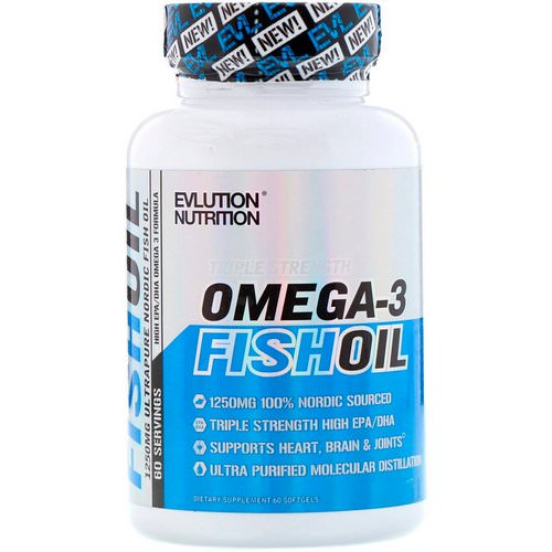 EVLution Nutrition, Omega-3 Fish Oil, Triple Strength, 60 Softgels Review