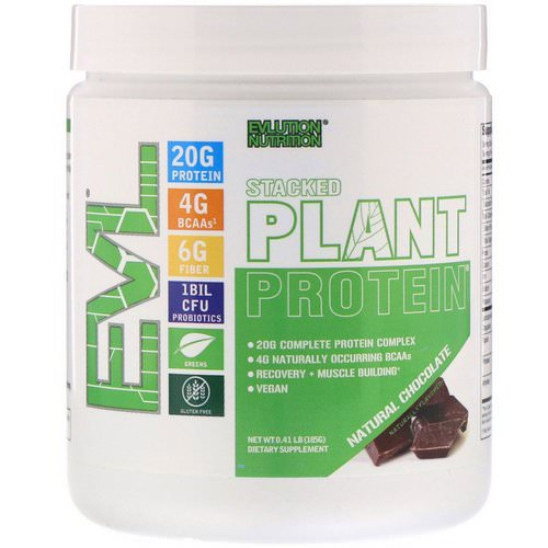 EVLution Nutrition, Stacked Plant Protein, Natural Chocolate, 0.41 lbs (185 g) Review