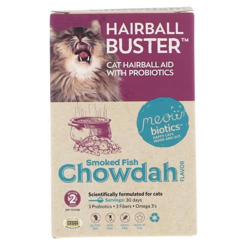 Fidobiotics, Hairball Buster, Cat Hairball Aid, With Probiotics, Smoked Fish Chowdah, 2 Billion CFUs, 0.5 oz (15 g) Review