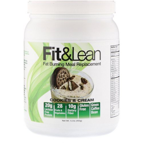 Fit & Lean, Fat Burning Meal Replacement, Cookies & Cream, 1.0 lb (450 g) Review