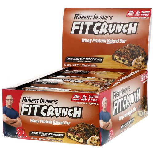 FITCRUNCH, Whey Protein Baked Bar, Chocolate Chip Cookie Dough, 12 Bars, 3.10 oz (88 g) Each Review