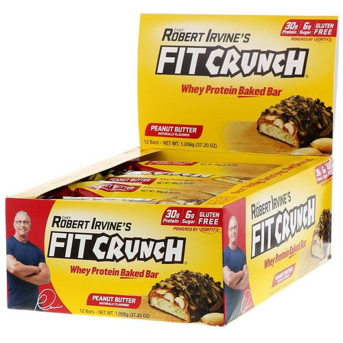 FITCRUNCH, Whey Protein Baked Bar, Peanut Butter, 12 Bars, 3.10 oz (88 g) Each Review