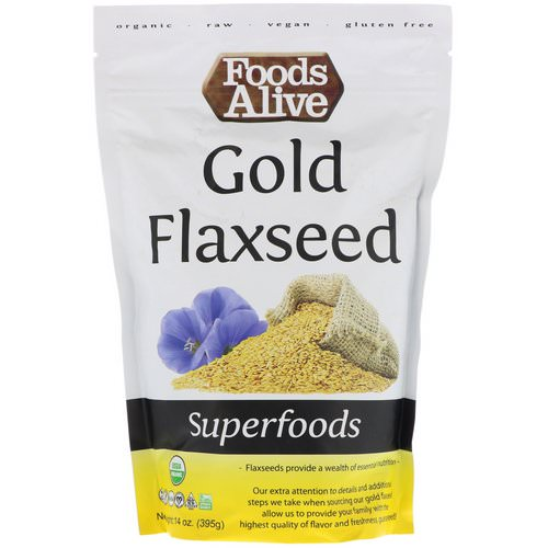 Foods Alive, Superfoods, Gold Flaxseed, 14 oz (395 g) Review