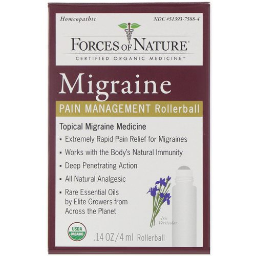 Forces of Nature, Migraine, Pain Management, Rollerball, 0.14 oz (4 ml) Review