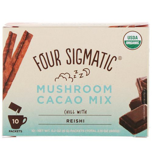 Four Sigmatic, Mushroom Cacao Mix, Sweet+ Cinnamon, 10 Packets, 0.2 oz (6 g) Each Review