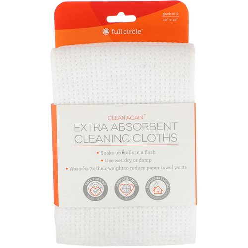Full Circle, Clean Again, Extra Absorbing Cleaning Cloths, 2 Pack, 12