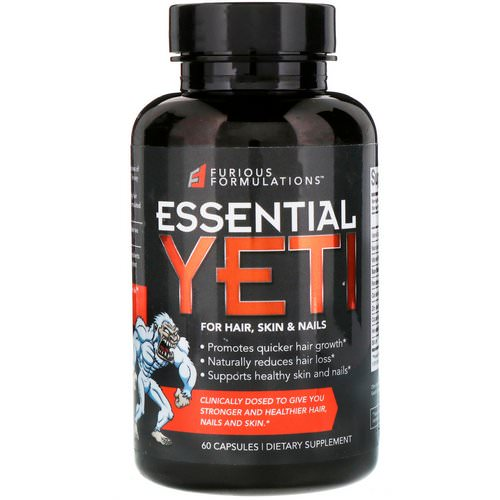 FURIOUS FORMULATIONS, Essential Yeti For Hair, Skin & Nails, 60 Capsules Review
