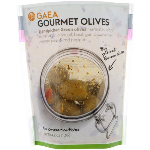 Gaea, Gourmet Olives, Marinated Pitted Green Olives, 4.2 oz (120 g) Review