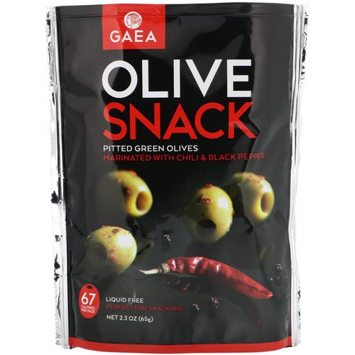 Gaea, Olive Snack, Pitted Green Olives, Marinated With Chili & Black Pepper, 2.3 oz (65 g) Review