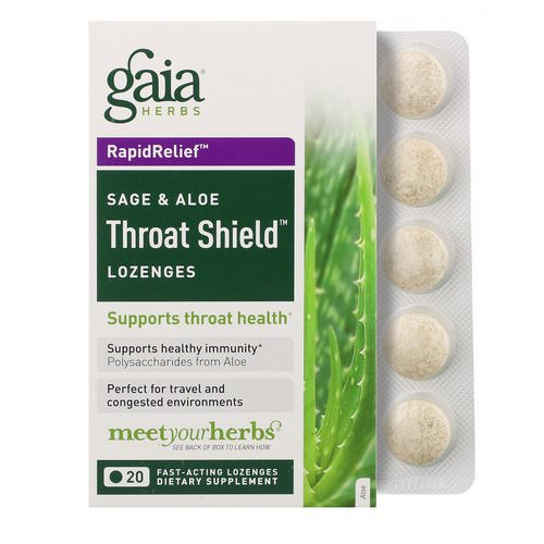 Gaia Herbs, Throat Shield Lozenges, Sage & Aloe, 20 Fast-Acting Lozenges Review