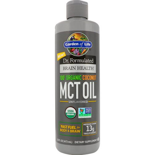 Garden of Life, Dr. Formulated Brain Health, 100% Organic Coconut MCT Oil, Unflavored, 16 fl oz (473 ml) Review